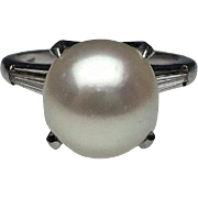 Platinum Pearl and Baguette Diamond Ring