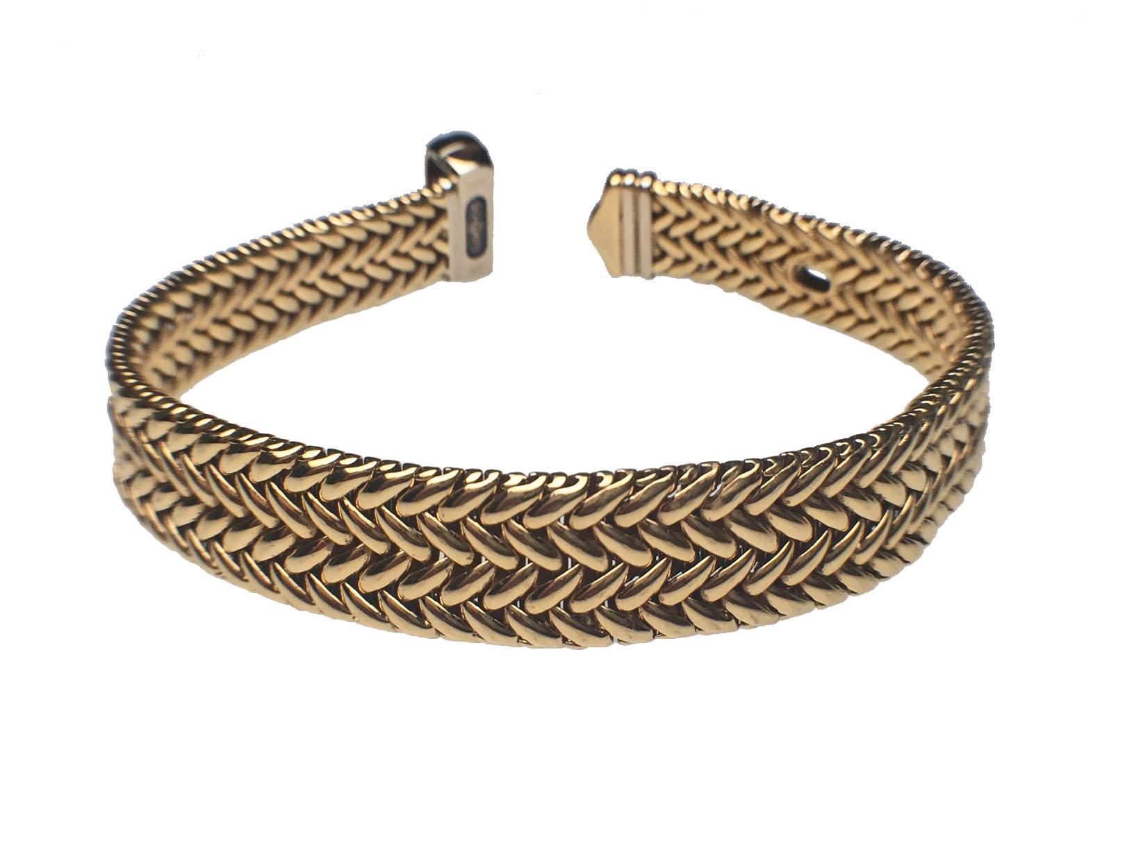 18 karat yellow gold wide woven buckle bracelet from for Estate jewelry burlington vt