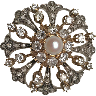 18 Karat Yellow Gold and Silver Diamond and Pearl Fleur de Lis Brooch