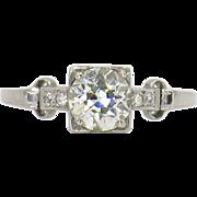 0.97 Carat Old European 18 Karat White Gold Art Deco Ring