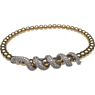 18 Karat Yellow Gold Diamond Snake Bracelet