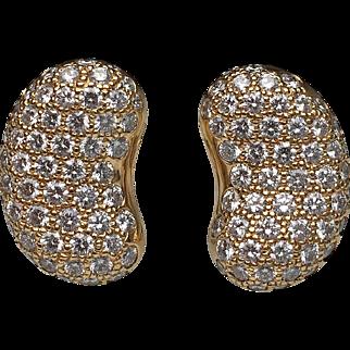 "18 Karat Yellow Gold Diamond Tiffany & Co. ""Bean"" Earrings"