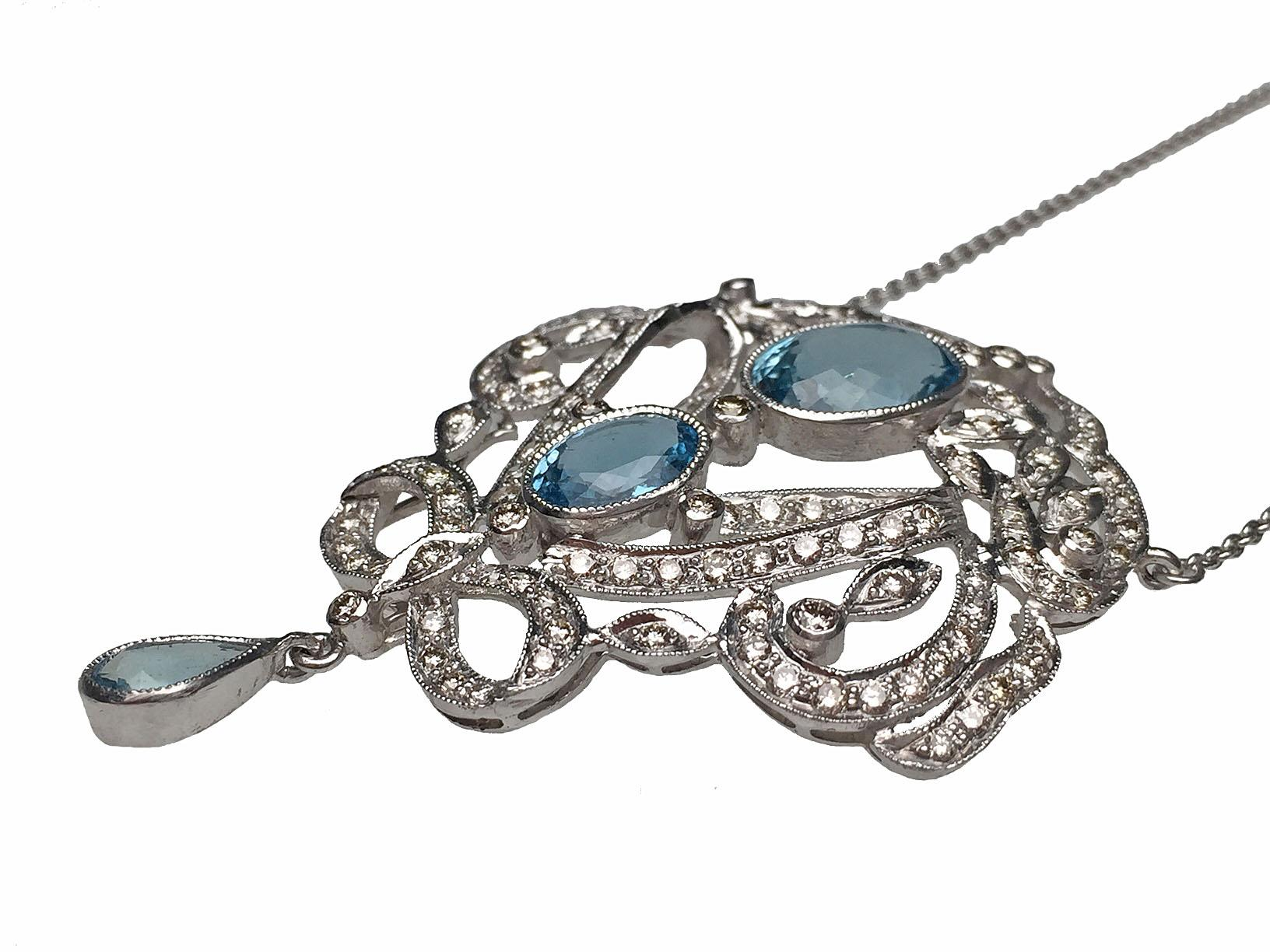 18 karat white gold edwardian style aquamarine and diamond for Estate jewelry burlington vt