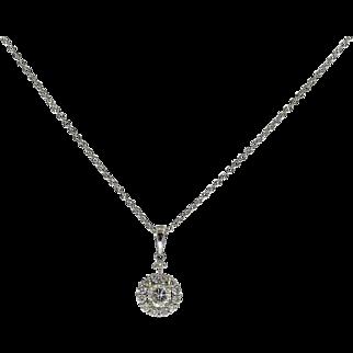 18 Karat White Gold 0.25 Carat Center Diamond Halo Pendant