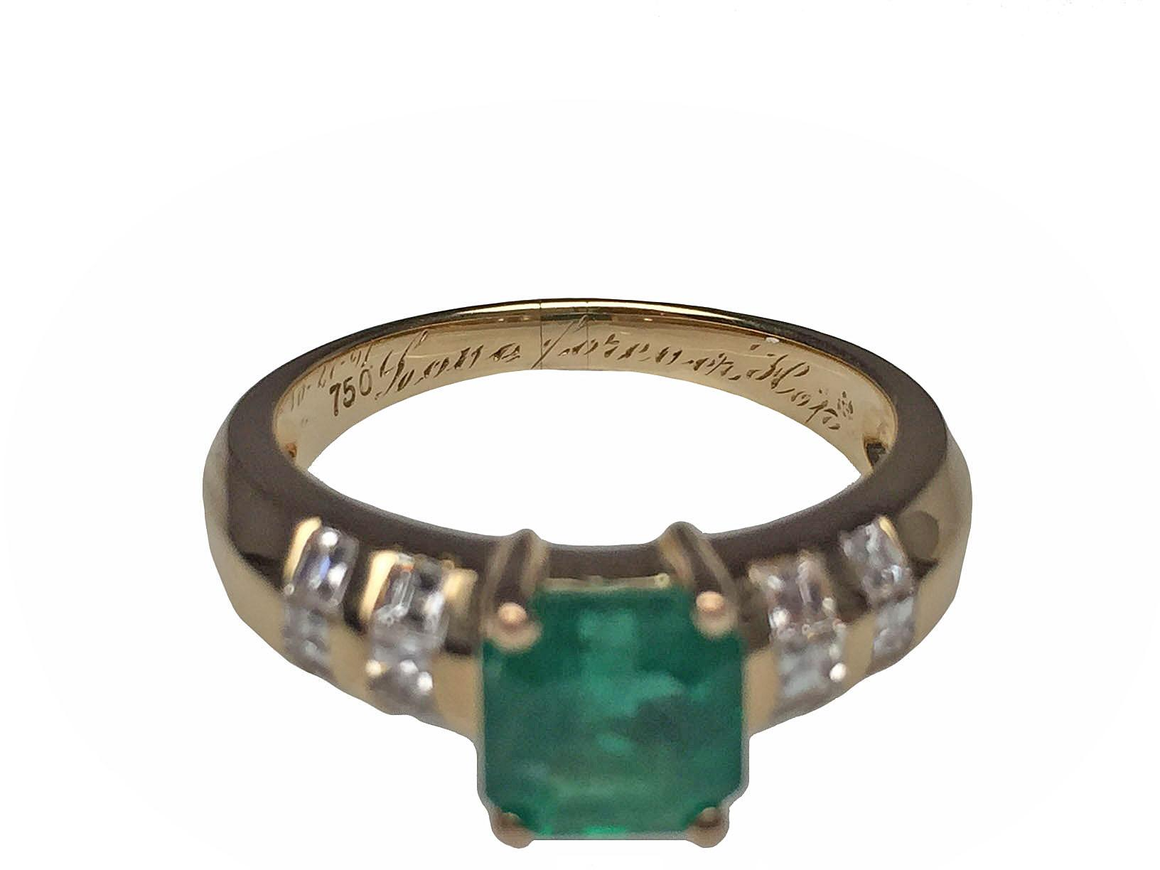 18 karat yellow gold emerald and diamond ring from lippas for Estate jewelry burlington vt