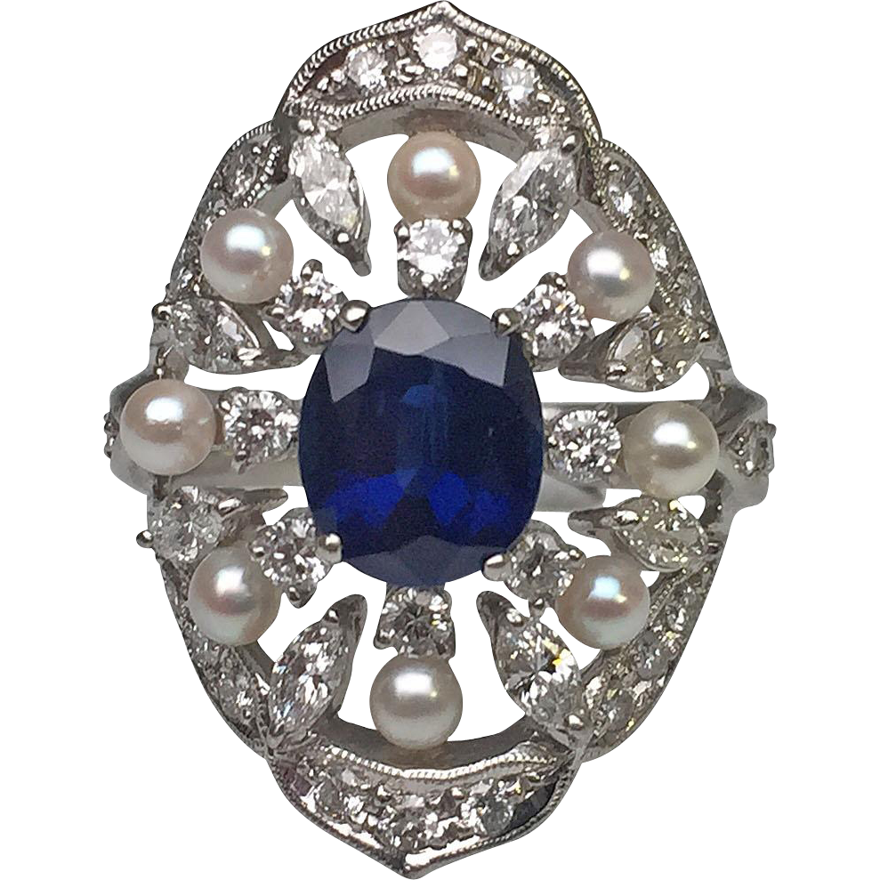 Platinum sapphire diamond and pearl estate ring lippa for Estate jewelry burlington vt