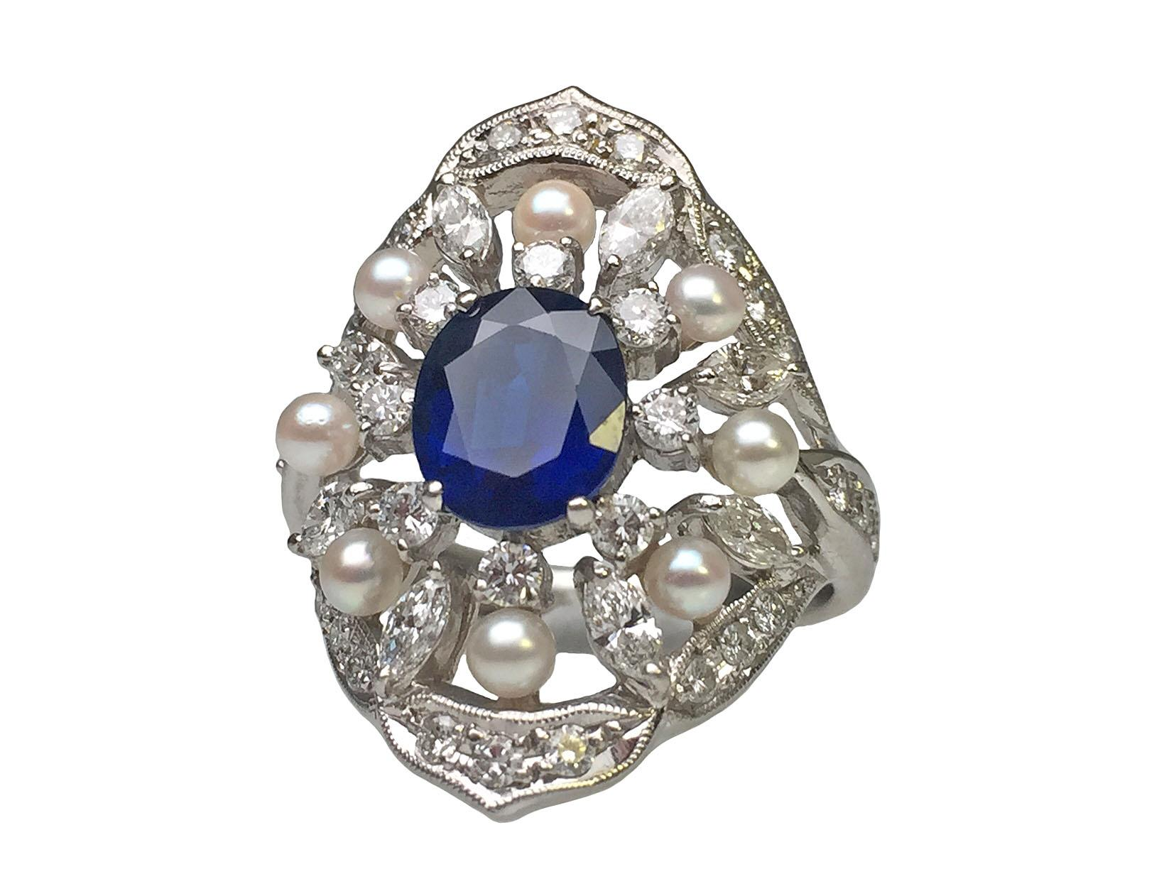 Platinum sapphire diamond and pearl estate ring from for Estate jewelry burlington vt