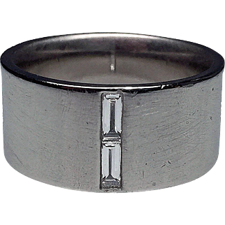 Mens Wide Platinum and Diamond Band