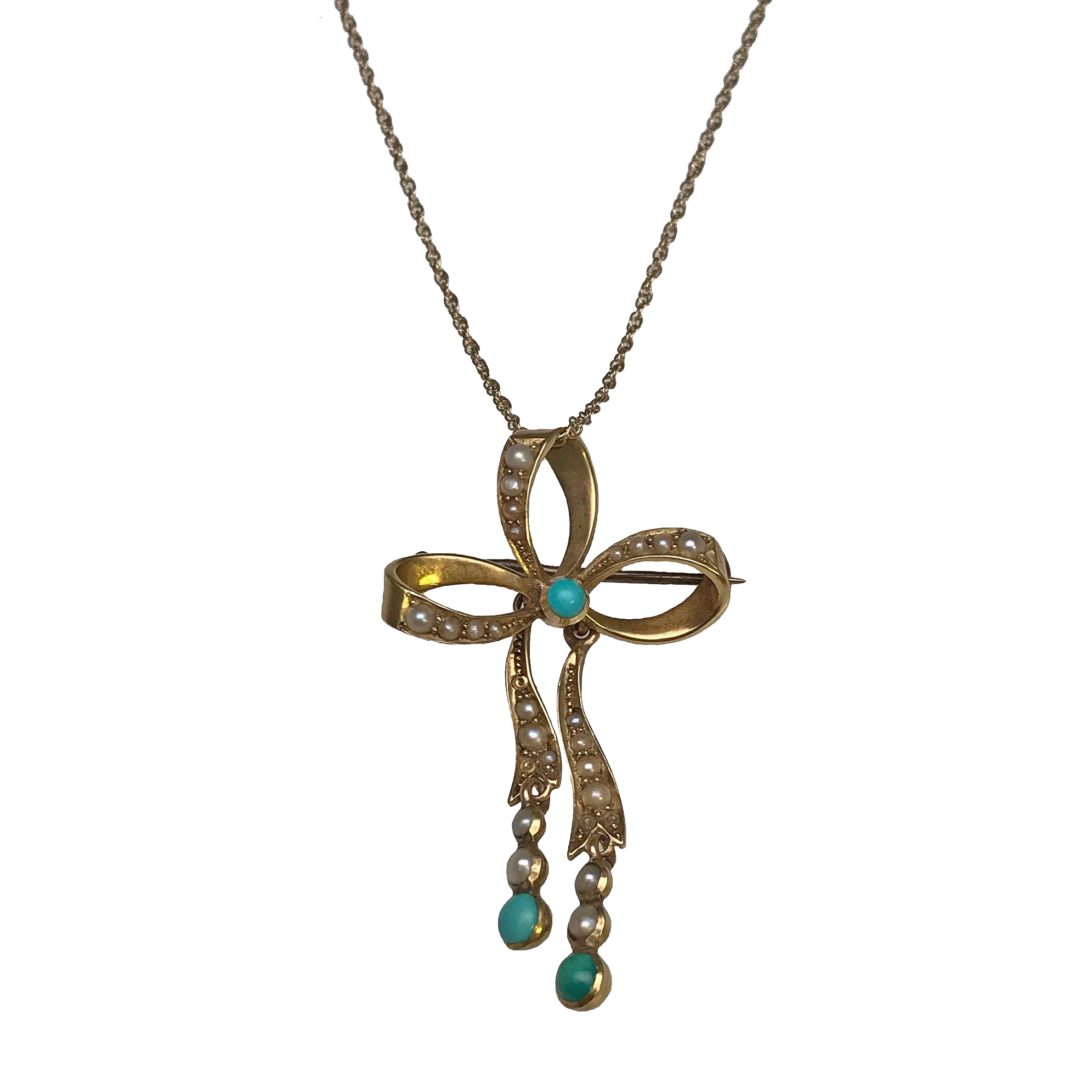 14 karat yellow gold turquoise and seed pearl bow pendant for Estate jewelry burlington vt
