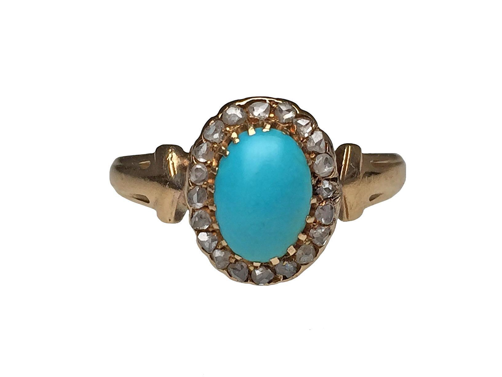 14 karat yellow gold turquoise and rose cut diamond ring for Estate jewelry burlington vt