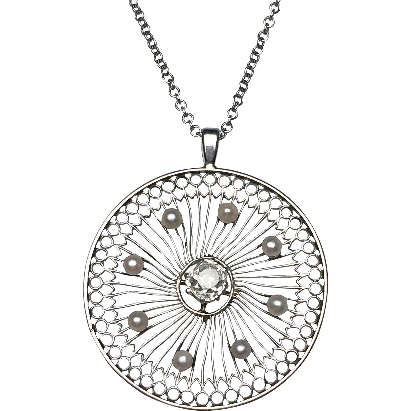 Platinum edwardian diamond and pearl pendant from for Fine jewelry diamond pendants