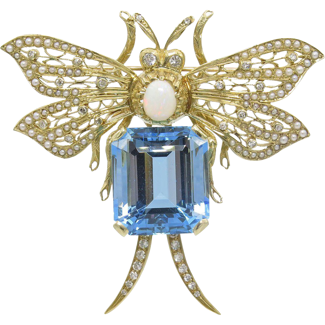 14 karat yellow gold aquamarine opal diamond and seed for Estate jewelry burlington vt