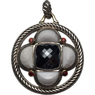 18 Karat Yellow Gold and Sterling Silver David Yurman Hematite, Garnet and Agate Pendant