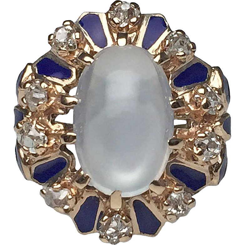 14 karat yellow gold victorian moonstone diamond and blue for Estate jewelry burlington vt