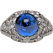 Platinum Cabochon Sapphire and Diamond Ring