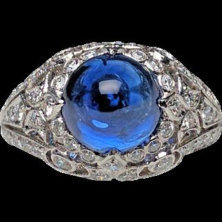 Platinum Cabochon Sapphire and Diamond Ring