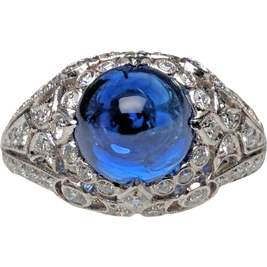 Platinum cabochon sapphire and diamond ring from lippas for Estate jewelry burlington vt