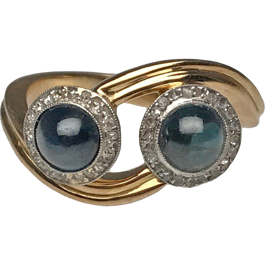 18 karat yellow gold and platinum double sapphire cabochon for Estate jewelry burlington vt