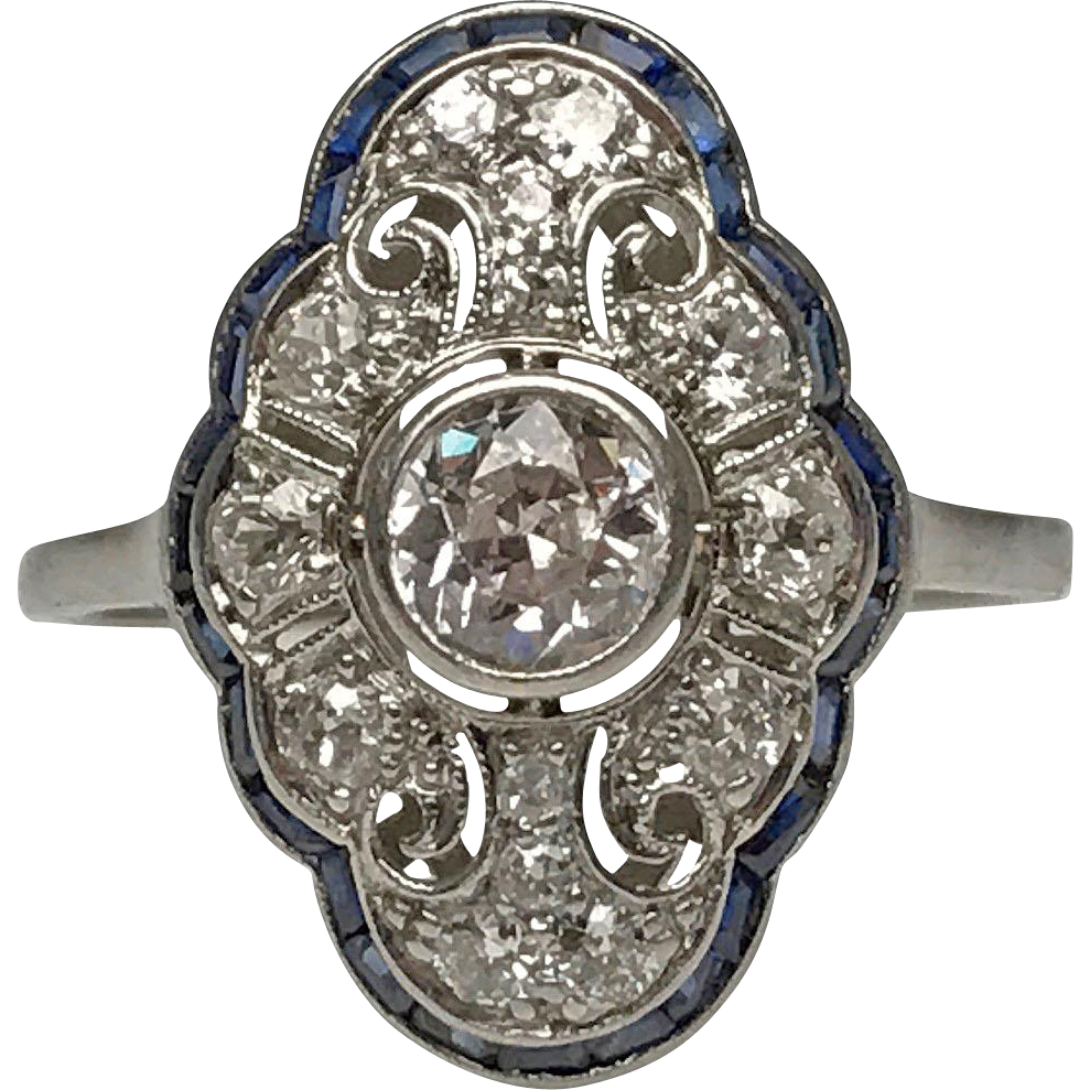 Edwardian platinum diamond and sapphire cocktail ring for Estate jewelry burlington vt