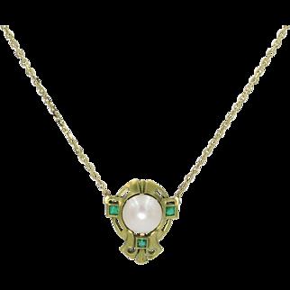 14 Karat Yellow Gold Emerald and Pearl Pendant