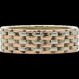 14 Karat White and Rose Gold Woven Ring