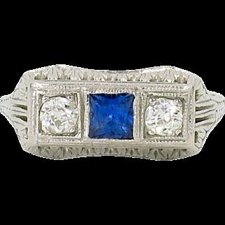 18 Karat White Gold Art Deco Diamond and Sapphire Three Stone Ring