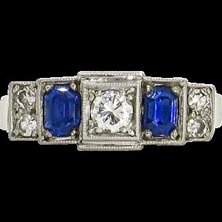 18 Karat White Gold Art Deco Sapphire and Diamond Ring