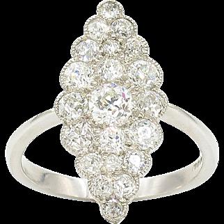 Platinum Diamond Navette Estate Ring