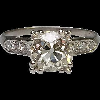 Platinum 2.24 Carat Old Mine Cut Diamond Ring