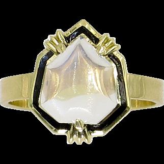 14 Karat Yellow Gold Moonstone & Black Enamel Ring