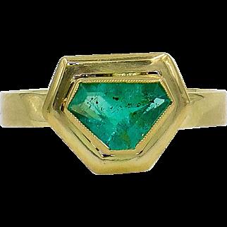 14 Karat Yellow Gold 0.80 Carat Emerald Ring