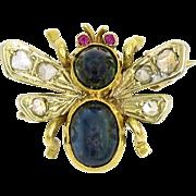 18 Karat Yellow Gold Sapphire, Ruby and Diamond Bee Pin