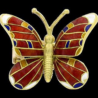 14 Karat Yellow Gold Enamel Butterfly Pin