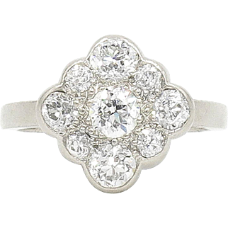 Platinum Diamond Cluster Ring with Scalloped Edges