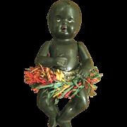 Circa 1920's German Celluloid Black Baby Doll w/Grass Skirt- Rheinische Gummi Schildkrot