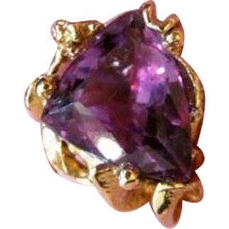 Huge Vintage Estate Custom Made 12.14 ct. Fancy Cut Amethyst Ring-14K Heavy Yellow Gold Mounting-18.1 g