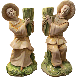 Vintage Pair Asian Porcelain Man & Woman with Bamboo- Candle Holders- Made in ITALY