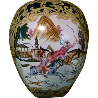 Gorgeous Mid- 19th Century Chinese QING DYNASTY QIANLONG Hand Painted and Enameled Large Gilded Vase-Hunting Scene