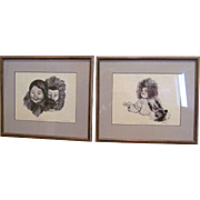 REDUCED- Vintage RARE Framed Set - Eskimo Children- Original Ink on Paper- FAYMA ROBINSON- Signed & Numbered