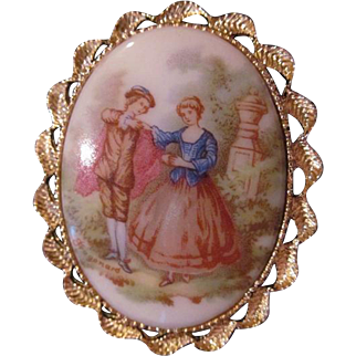 Vintage 1950's Fragonard French Courting Couple Brooch/Pin