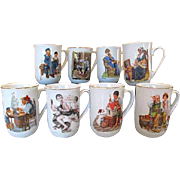 Vintage 1980's Set of Eight NORMAN ROCKWELL Museum Americana Porcelain Mugs
