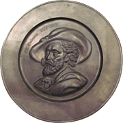 Vintage Pewter Decorative Plate with Bust of Belgian Artist, Peter Paul Rubens (1577-1641)-Eagle Crest Mark