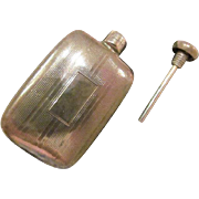 Vintage TIFFANY & Co. Sterling Silver Deco Style Engraved Mini Perfume Flask- 15.2 grams-Excellent!