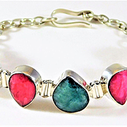 Vintage Sterling Silver Bracelet with Pear-Faceted Raw Rubies and Raw Emeralds