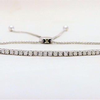 1ct Diamond Adjustable 10k White Gold Bolo-Style Tennis Bracelet