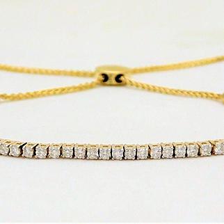 1ct Diamond Adjustable 10k Gold Bolo-Style Tennis Bracelet