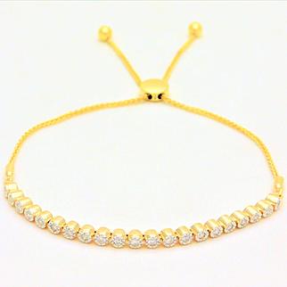 Diamond Adjustable 10k Gold Bolo-Style Tennis Bracelet