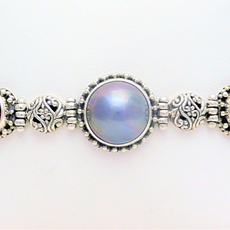 Sterling Silver Black Mother of Pearl and Pink Tourmaline Toggle Bracelet