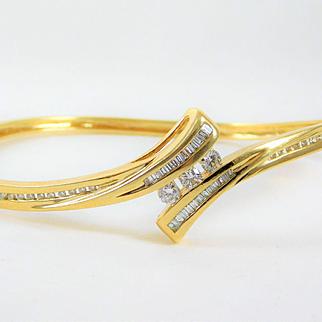 Vintage Diamond 14k Yellow Gold Bangle Bracelet
