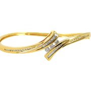 Vintage Diamond 14k Yellow Gold Bangle Bracelet